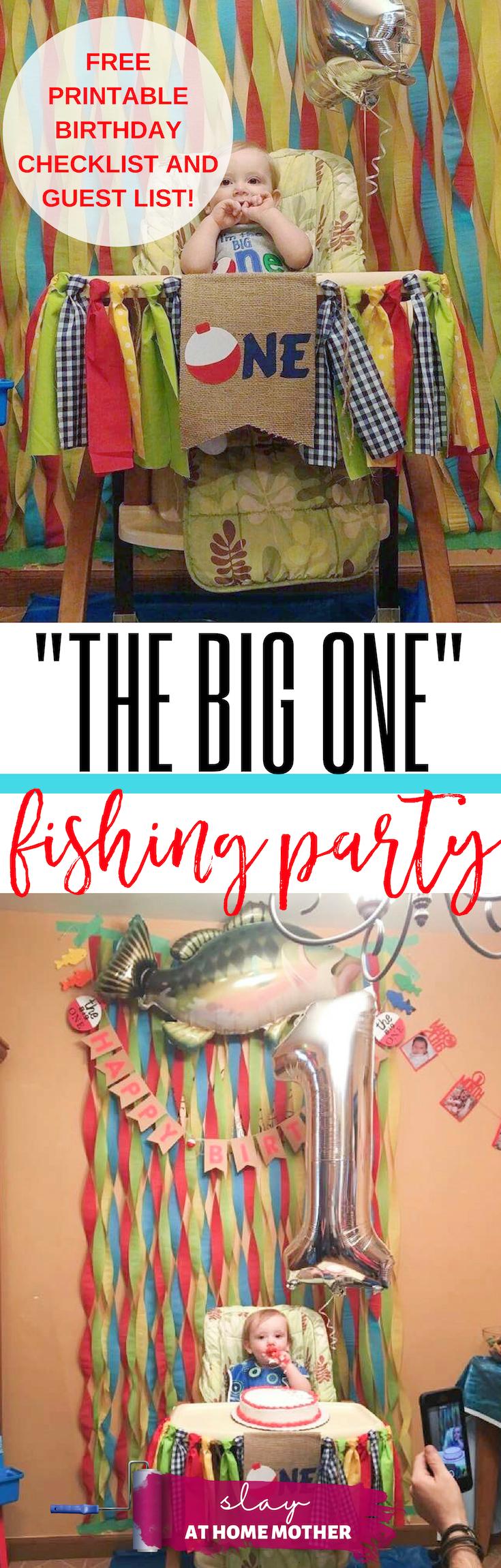 THE BIG ONE Fishing Party Theme (Decor, Favors, & Fun!) + FREE Printable Checklists . #fishingtheme #firstbirthday #thebigone #slayathomemother -- SLAYathomemother.com
