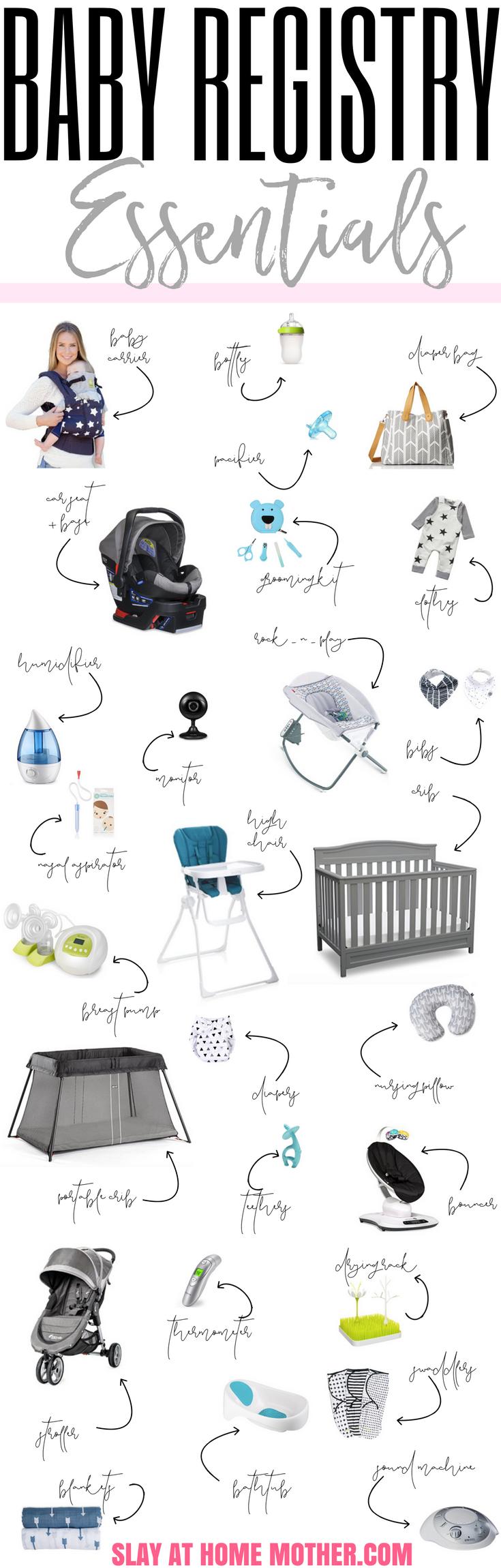 BABY REGISTRY ESSENTIALS (+ Free Checklist!) - #newbornessentials #babyregistry #babymusthaves #mommusthaves #registry #freechecklist . SlayAtHomeMother.com