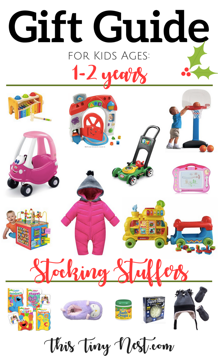 Gift Guide for Kids Ages 1-2 Years (+Stocking Stuffers!) - This Tiny Nest.com #giftguide #toddlergiftguide #holidaygiftguide #christmasgifts#toddlerchristmasgifts #stockingstuffers