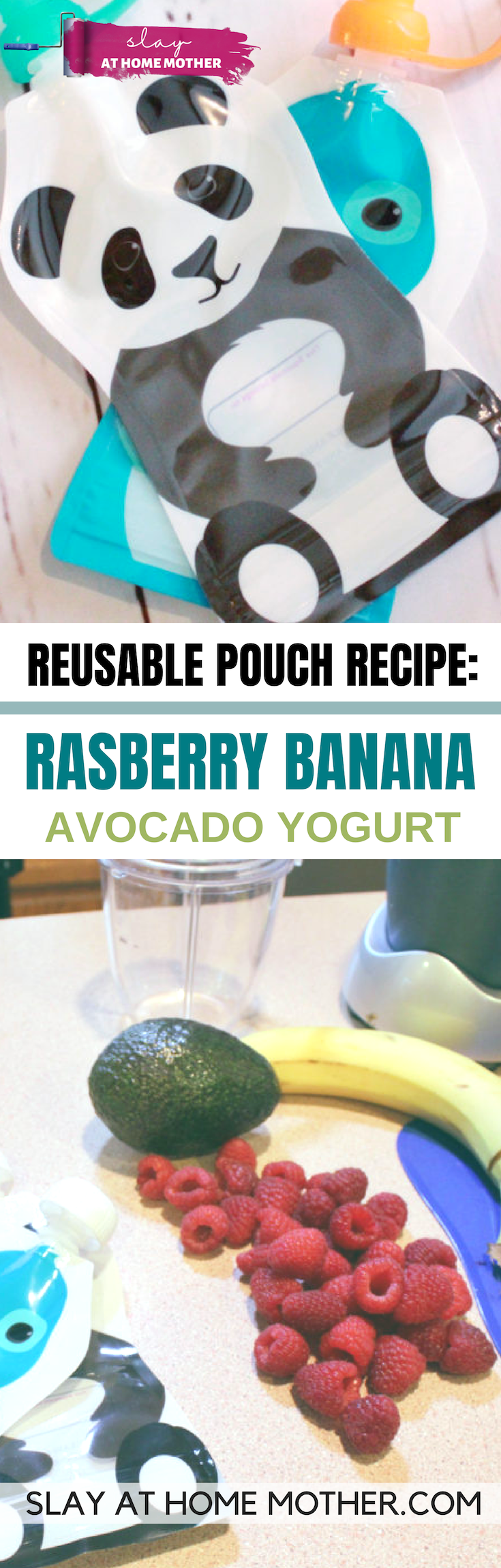 Raspberry Banana Avocado Yogurt Pouch Recipe #babyfood #reusablepouches #slayathomemother - SLAYathomemother.com