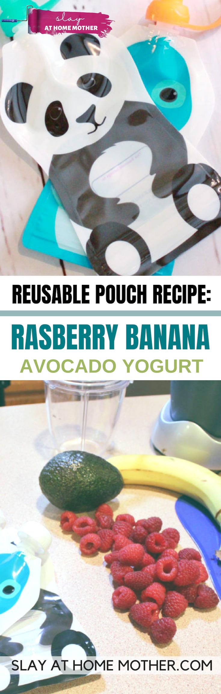 Raspberry Banana Avocado Yogurt Pouch Recipe #babyfood #reusablepouches #slayathomemother - SLAYathomemother.com