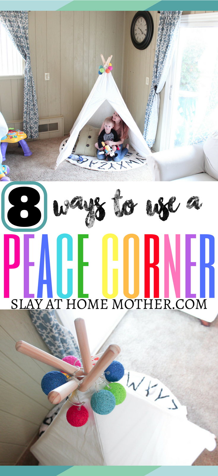 Setting Up Our Peace Corner - SlayAtHomeMother.com [Featuring Teepee from My Uptown Baby] #peacecorner #positiveparenting #montessori #nurserydecor #teepee #kidsroom