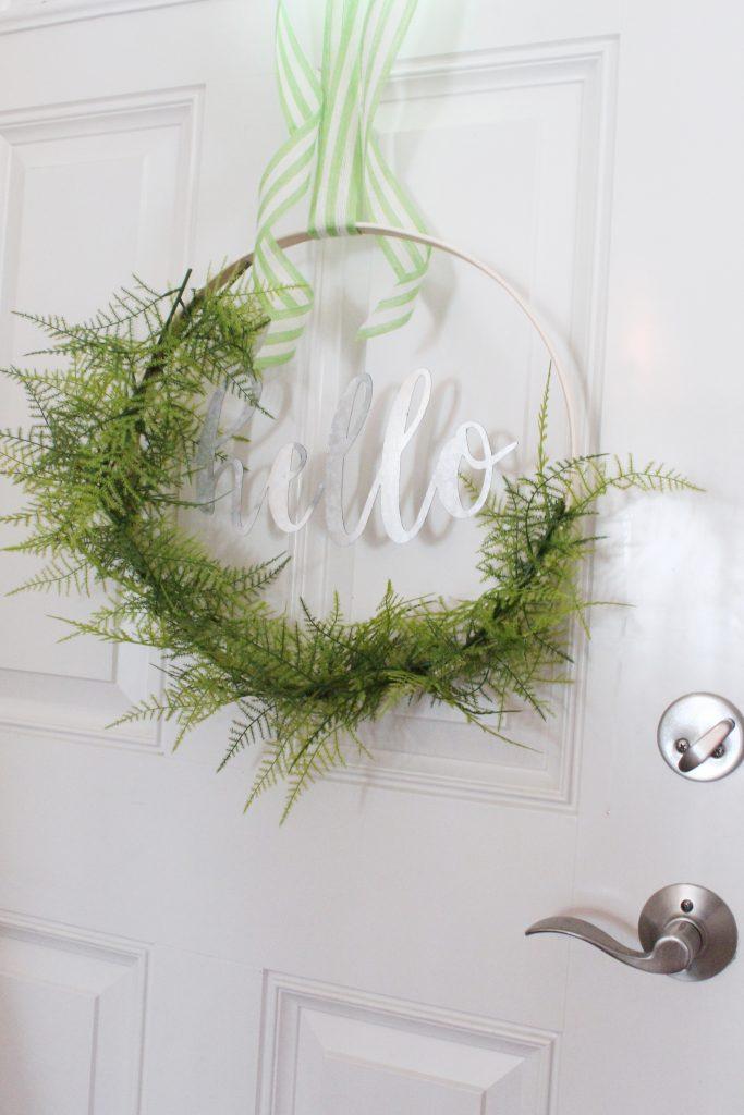 DIY Hoop Wreath $25 - #hoopwreath #diywreath #diy #slayathomemother SlayAtHomeMother.com