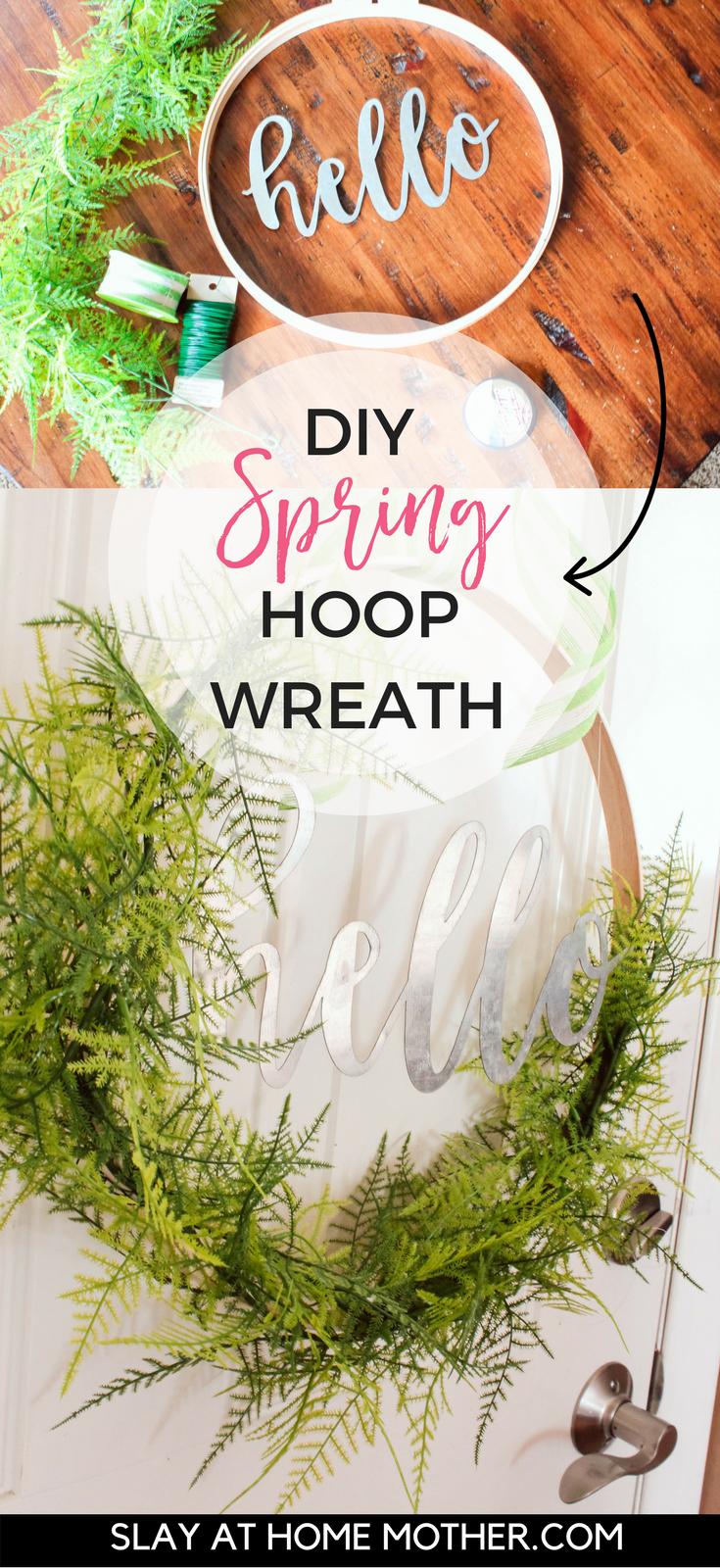 DIY Spring Hoop Wreath ($25) - #hoopwreath #springwreath #diywreath #slayathomemother #diyhomedecor SlayAtHomeMother.com