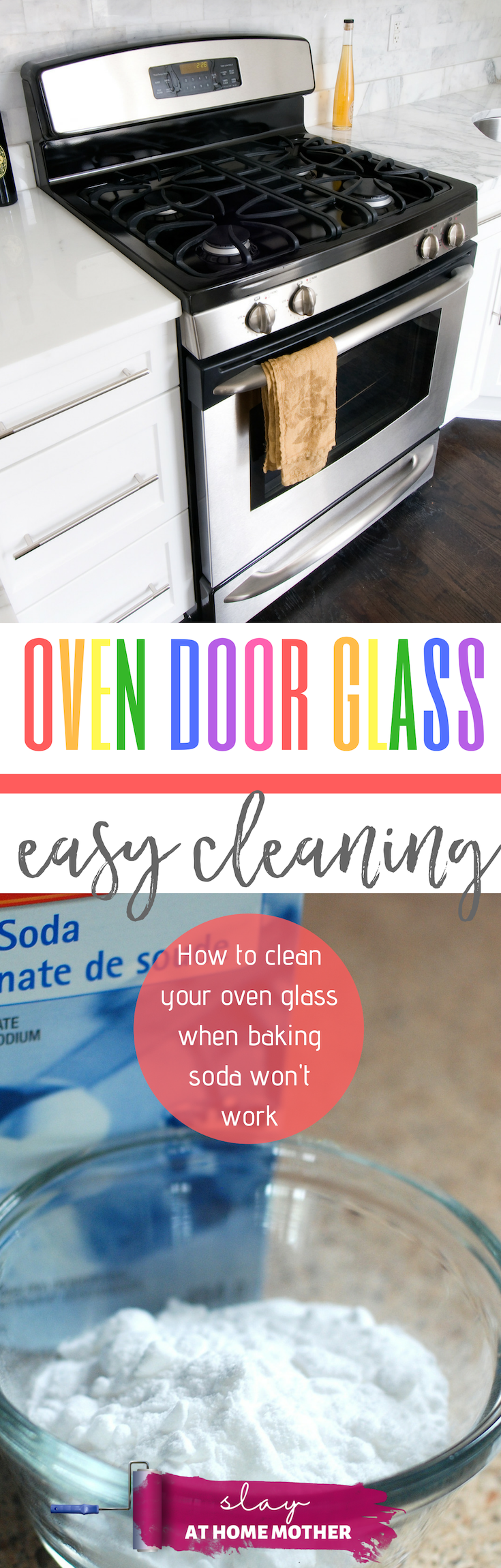 How To Clean Your Oven Door Glass When Baking Soda Doesn't Work... #slayathomemother #oven #cleaning #cleaninghack -- SLAYathomemother.com