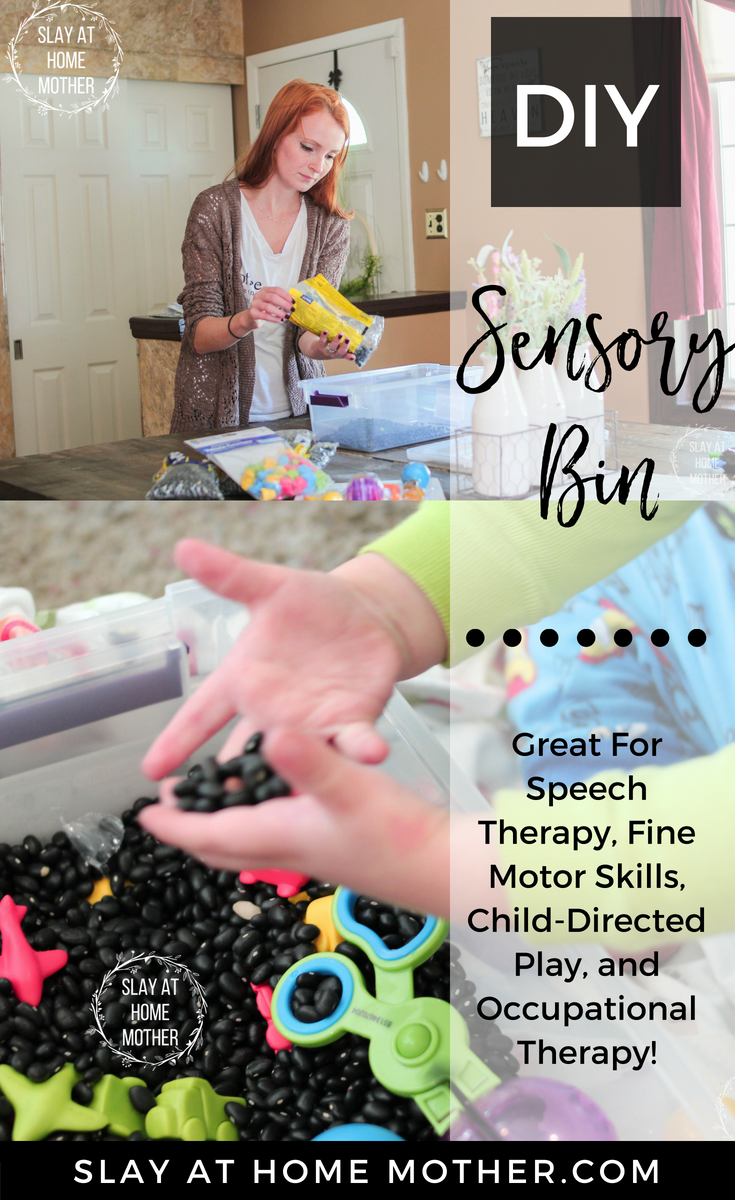 DIY Sensory Bin (Great for speech therapy, fine motor skills, child-directed play, and occupational therapy) #spd #speechtherapy #occupationaltherapy #sensorybins #slayathomemother - SlayAtHomeMom