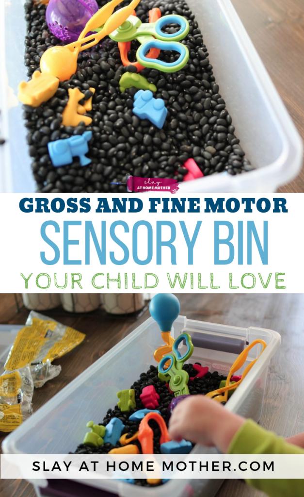 Toddler Sensory Bin That Encourages Both Gross and Fine Motor Skills! #sensorybin #sensory #spd #slayathomemother - SLAYathomemother.com (1)