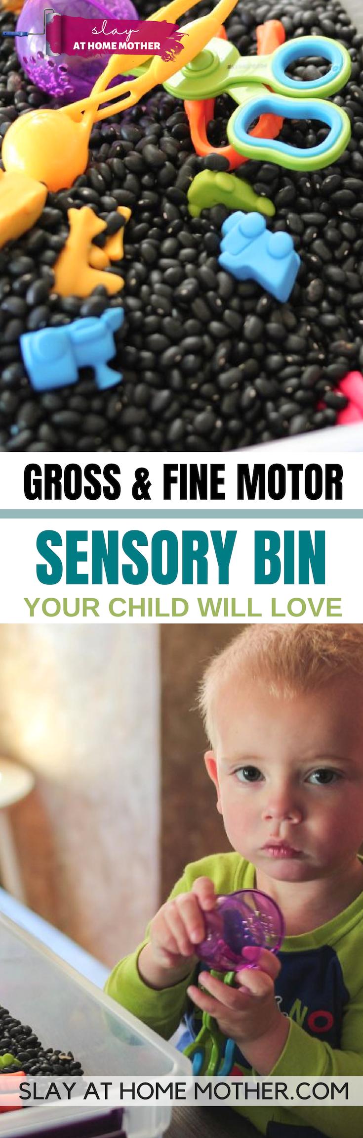 Toddler Sensory Bin That Encourages Gross And Fine Motor Skills #sensorybin #sensory #spd #slayathomemother - SLAYathomemother.com