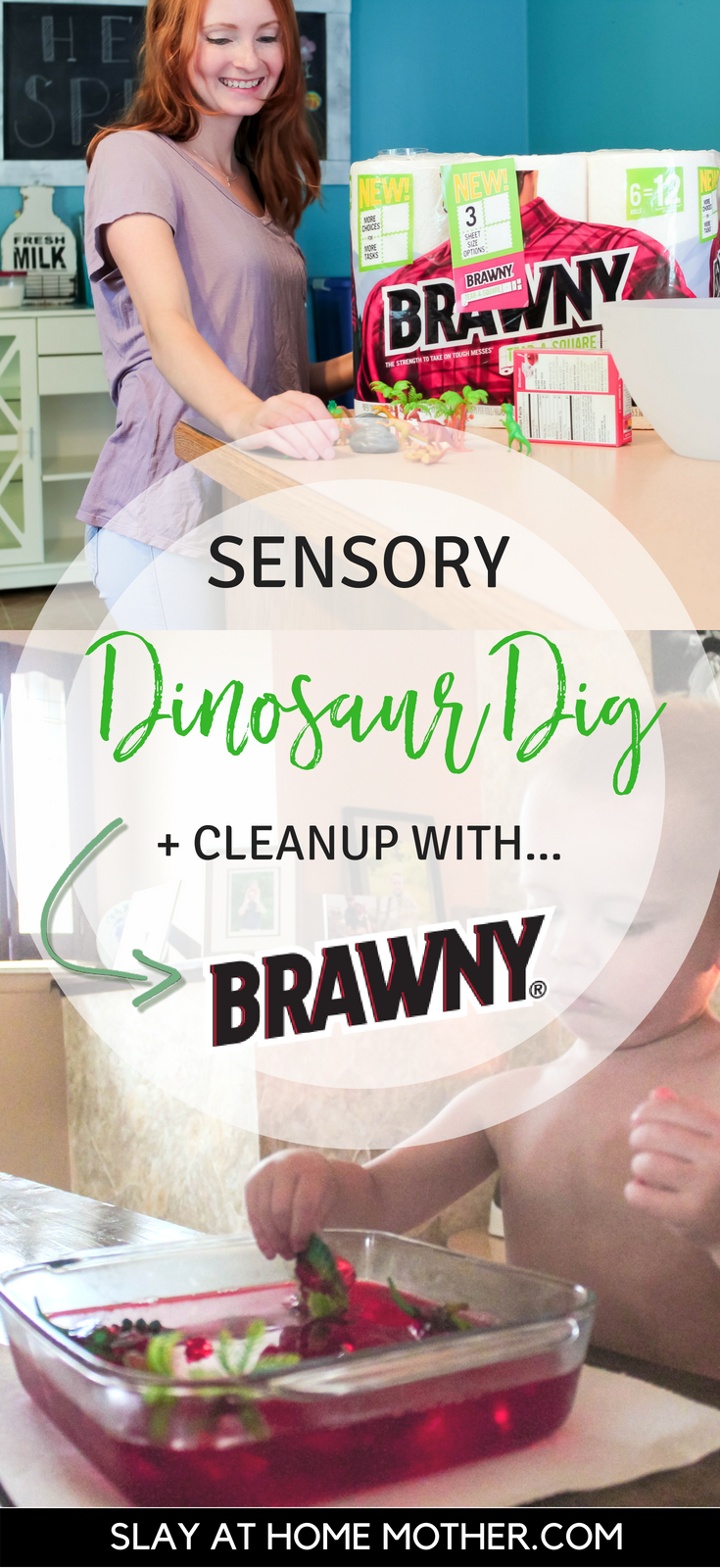 #ad Dinosaur Dig Sensory Play Activity + Cleanup With Brawny® Tear-A-Square™ Paper Towels #slayathomemother #jellodig #sensory - SlayAtHomeMother.com