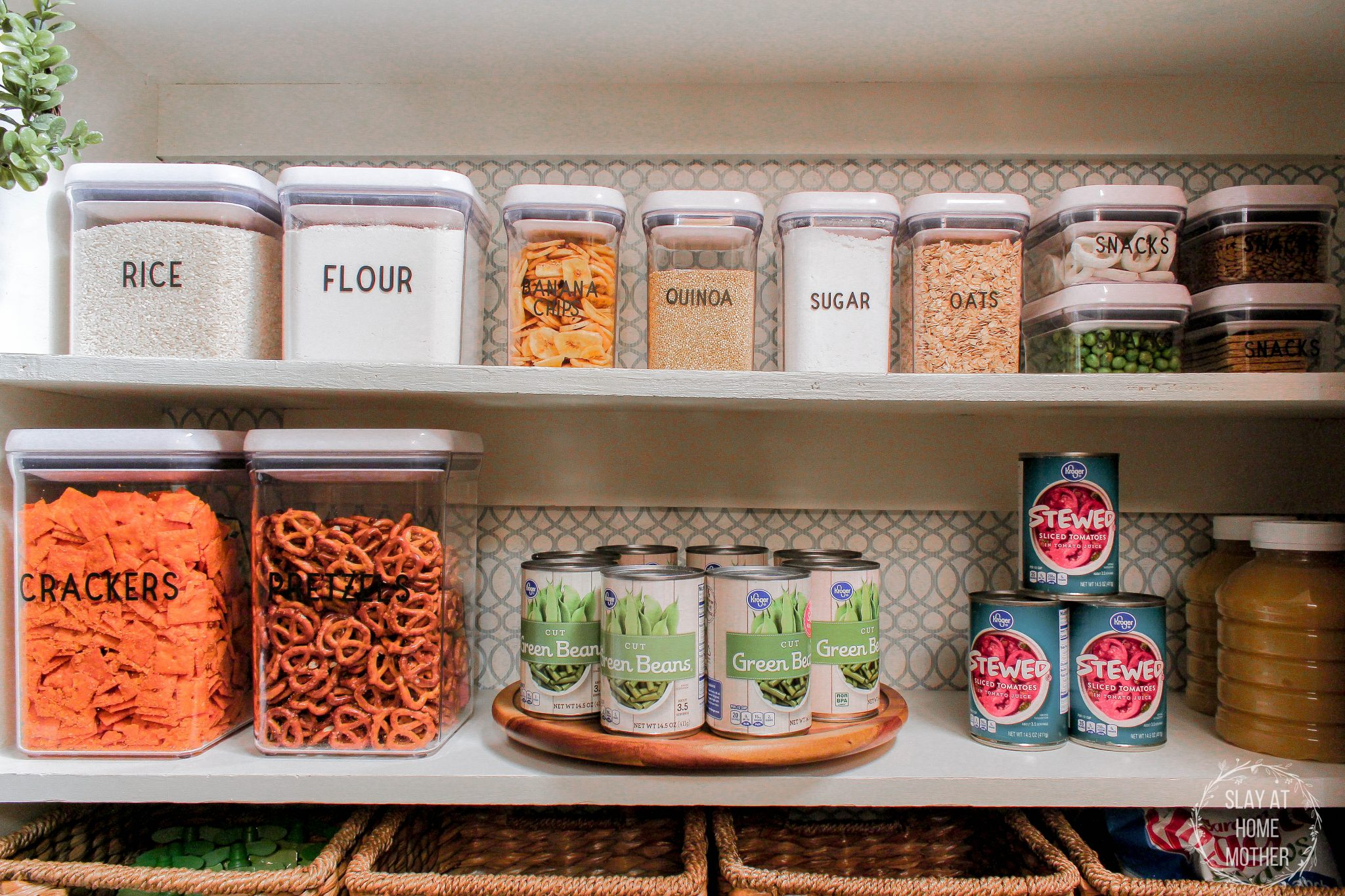 Cans stored on a rotating turntable, dry goods stored in airtight containers