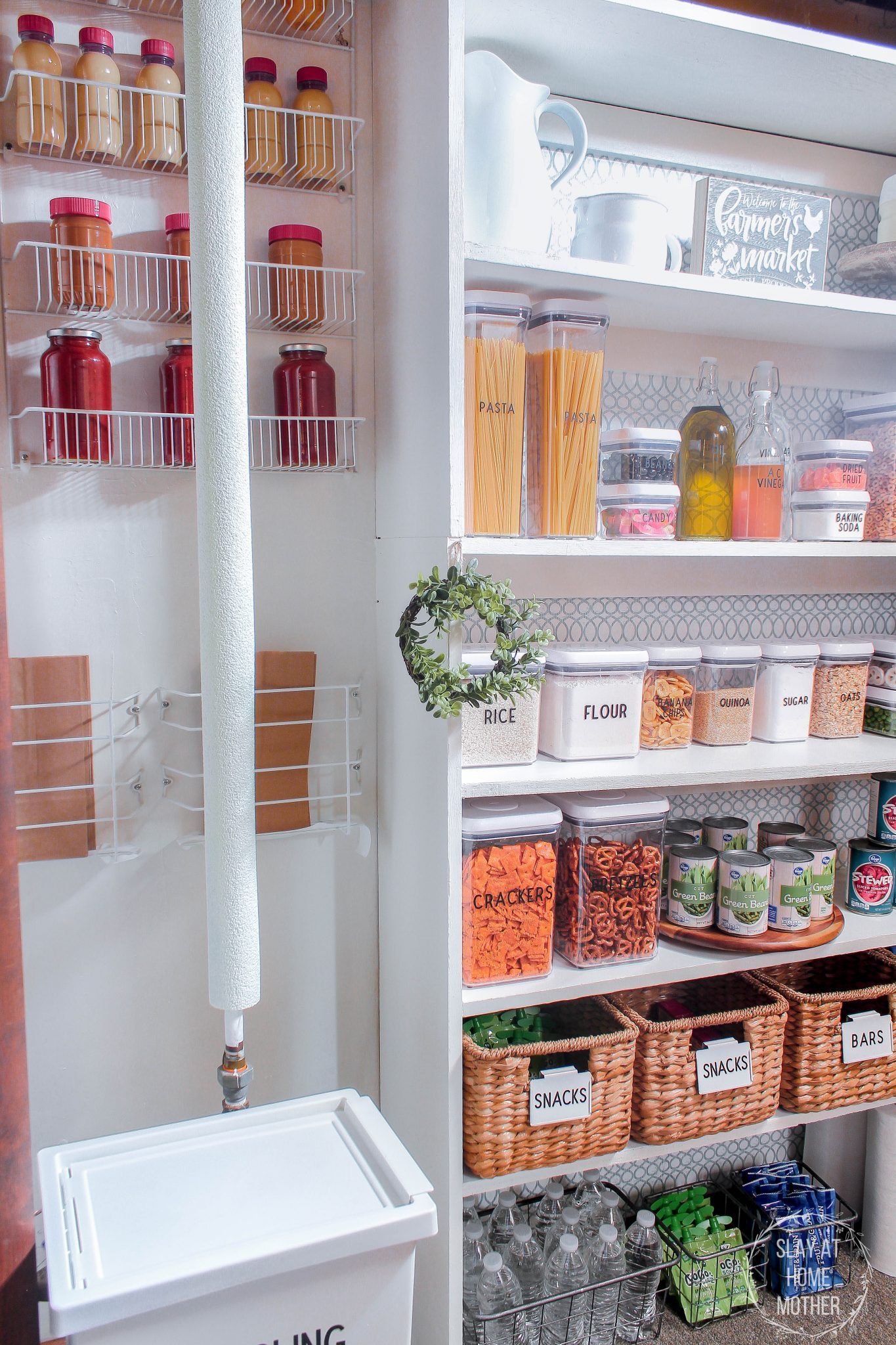finished small pantry organization vertical with pool noodle