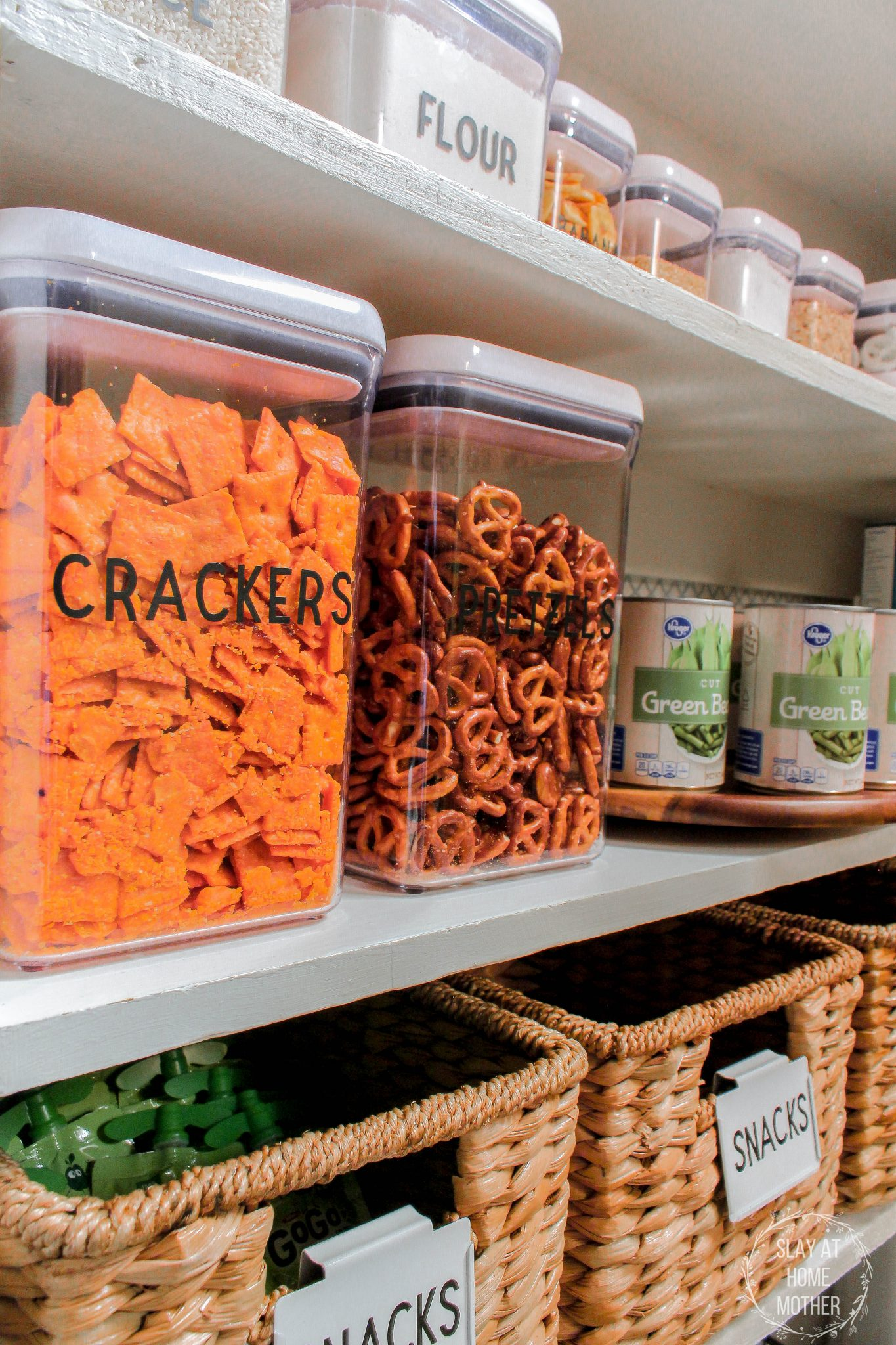 small pantry organization ideas: airtight containers with labels