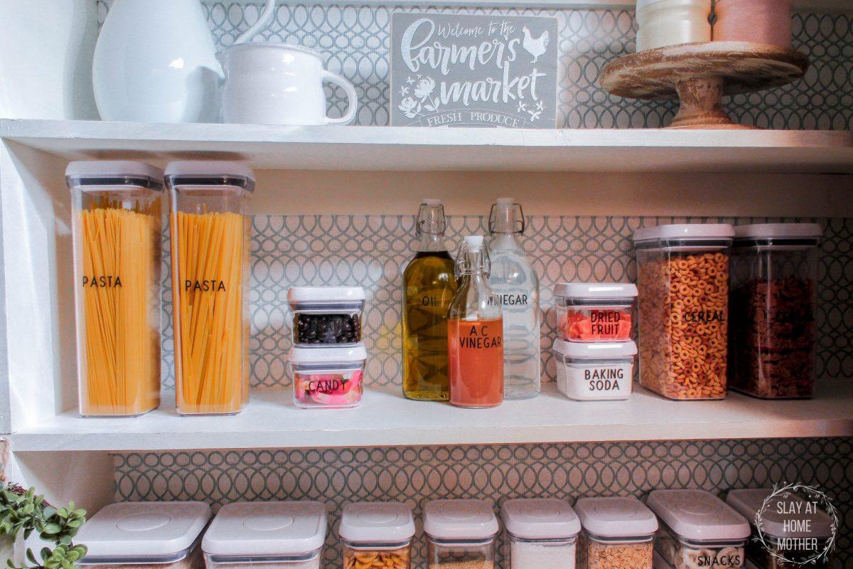 Easy DIY Farmhouse Pantry Makeover via SlayAtHomeMother.com