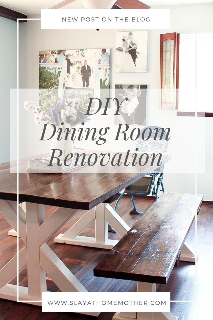 Dining Room Renovation + Removing Wallpaper #slayathomemother #diyproject #beforeandafter #wallpaper -- SlayAtHomeMother.com