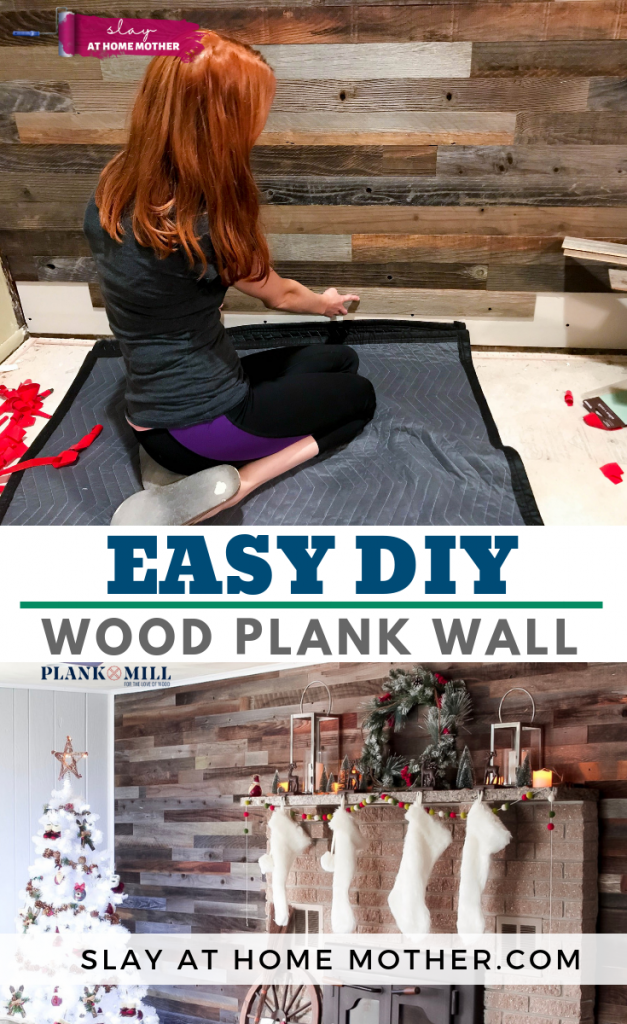 EASY DIY Wood Plank Wall with #plankandmill #slayathomemother #reclaimedwood #farmhouse - SLAYathomemother.com