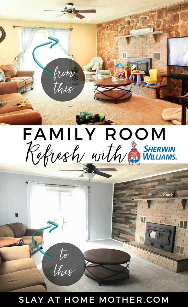 Family Room Refresh with Sherwin-Williams #sherwinwilliams #slayathomemother #refresh - SlayAtHomeMother.com