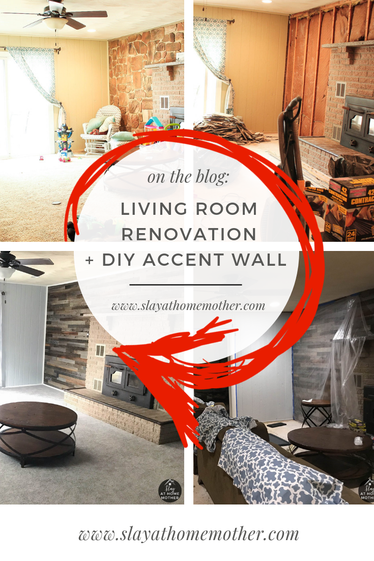 Living Room Reno + DIY Accent Wall #farmhouse #slayathomemother #reno #diy -- SlayAtHomeMother.com