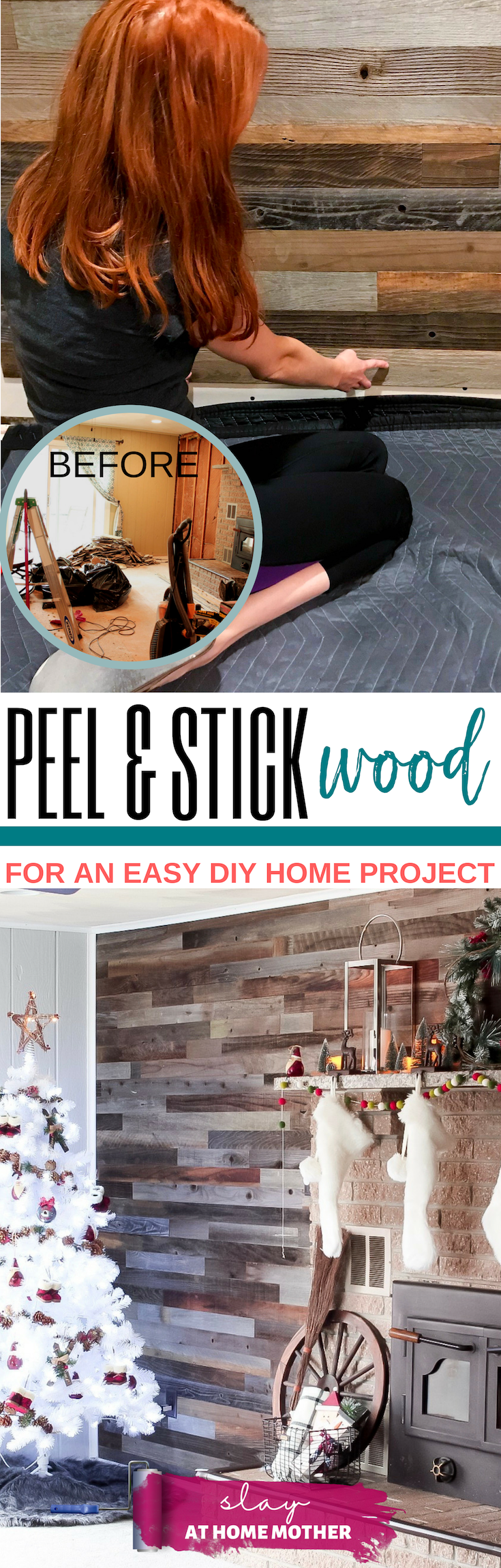 PEEL AND STICK WOOD For An Easy DIY #plankandmill #slayathomemother #diy #homeproject -- www.SLAYathomemother.com