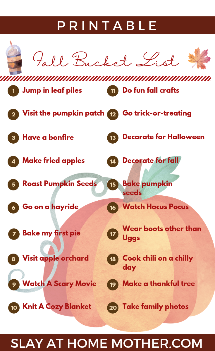 Fall Bucket List #bucketlist #fall #fallbucketlist #slayathomemother - SlayAtHomeMother.com
