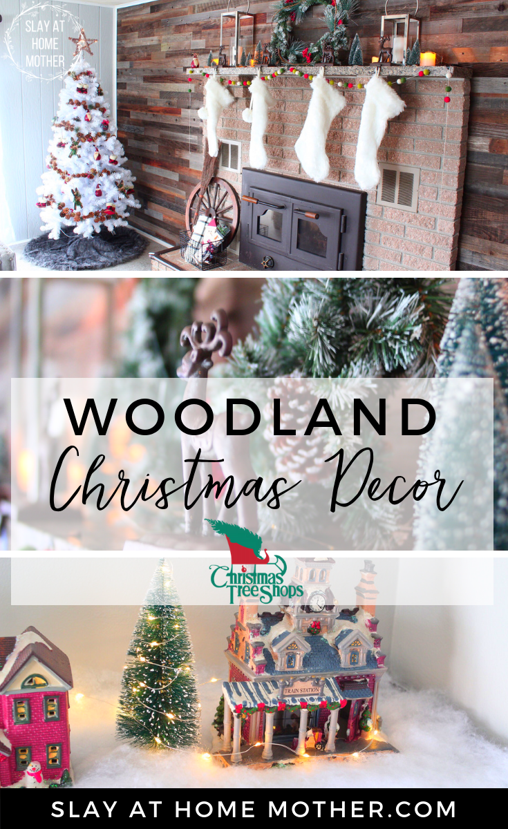 WOODLAND CHRISTMAS DECOR - #christmasdecor #slayathomemother #decoratewithme SLAYATHOMEMOTHER.COM