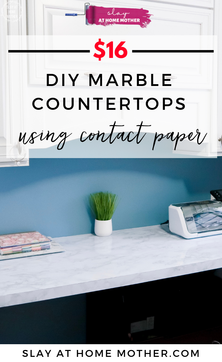 $16 DIY Marble Countertops Using Contact Paper __ Faux Marble #diy #homedecor #contactpaper #slayathomemother -- https://SLAYathomemother.com