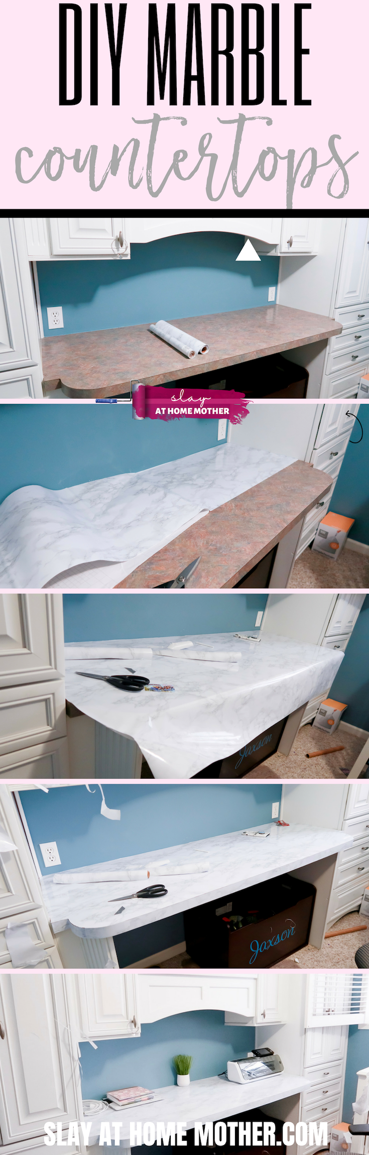 $16 DIY Marble Countertops Using Contact Paper #contactpaper #marble #slayathomemother #diy #homedecor -- https://SLAYathomemother.com