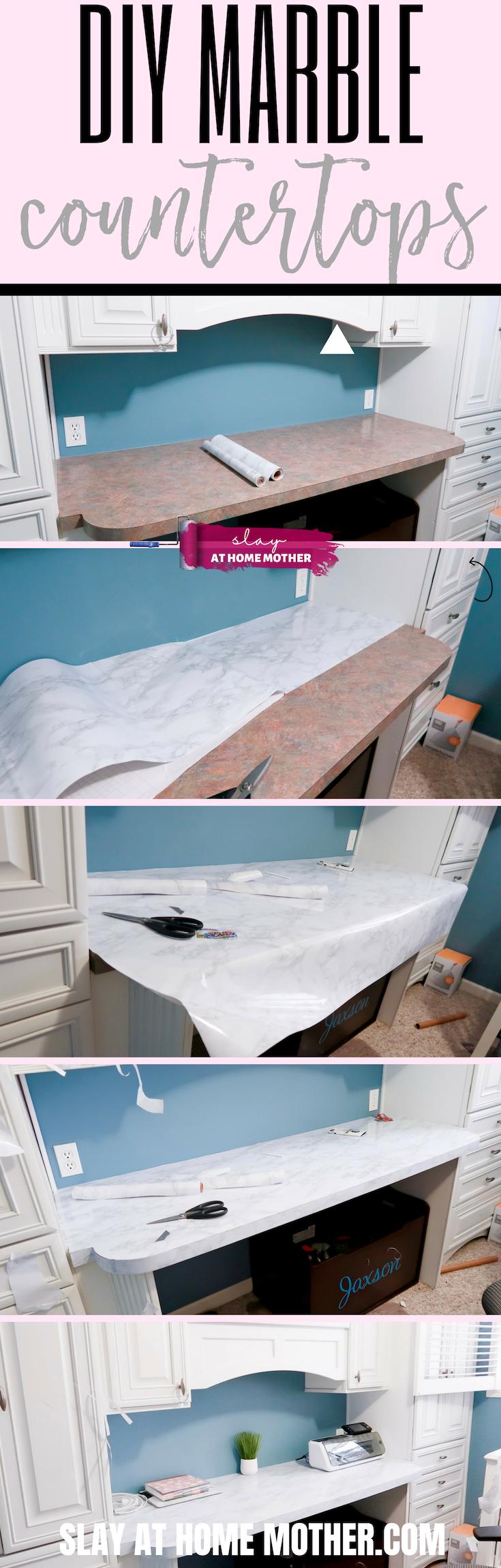 $16 DIY Marble Countertops Using Contact Paper #contactpaper #marble #slayathomemother #diy #homedecor -- https://SLAYathomemother.com