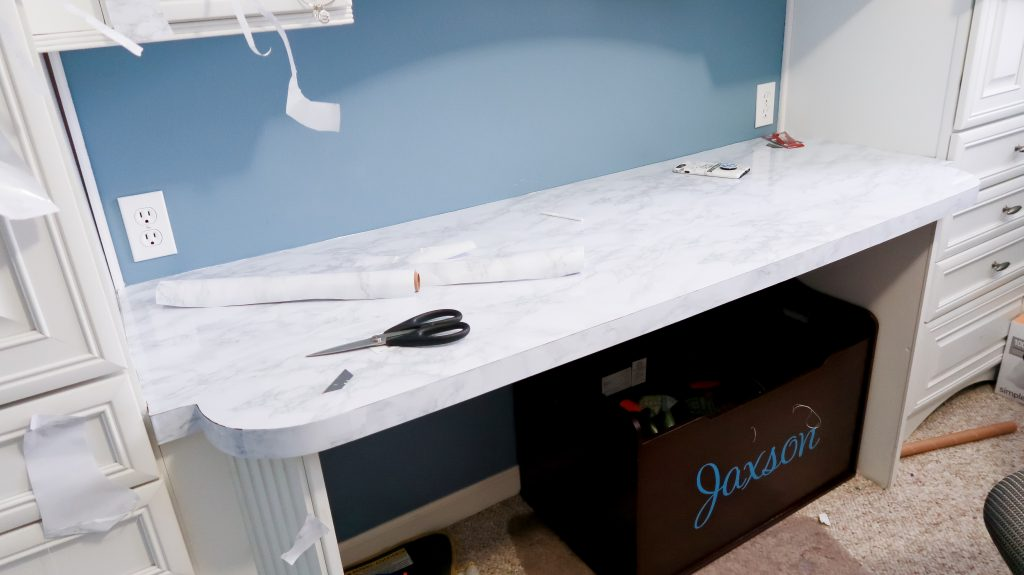 DIY Marble Countertops With Contact Paper via SlayAtHomeMother.com #contactpaper #diy #diycountertops #contactpapercounters #slayathomemother