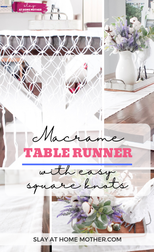 Easy Macrame Table Runner Made With Square Knots #slayathomemother #macrame #diy #tablerunner -- SLAYathomemother.com