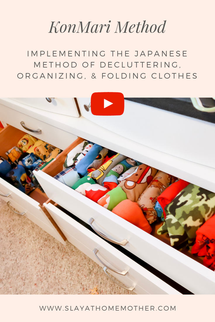 KonMari Method - Decluttering, Organizing, & Folding (+ YouTube Video) #konmari #konmarimethod #slayathomemother -- SlayAtHomeMother.com