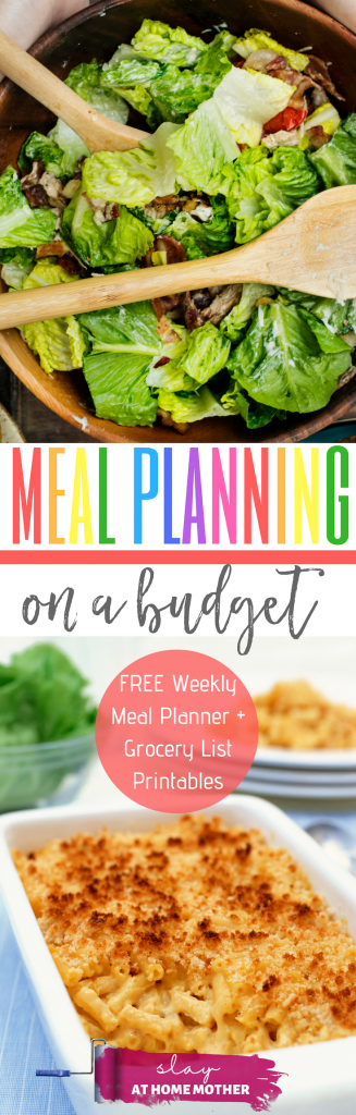 Meal Planning On A Budget, Plus A Free Weekly Meal Planner And Grocery List Printable from SLAYathomemother.com . #slayathomemother #mealplanning #weeklymealplan #mealplan #freeprintable
