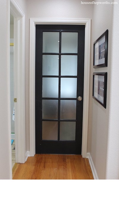 DIY Frosted Door With Contact Paper from HouseOfHepworths.com - SlayAtHomeMother.com
