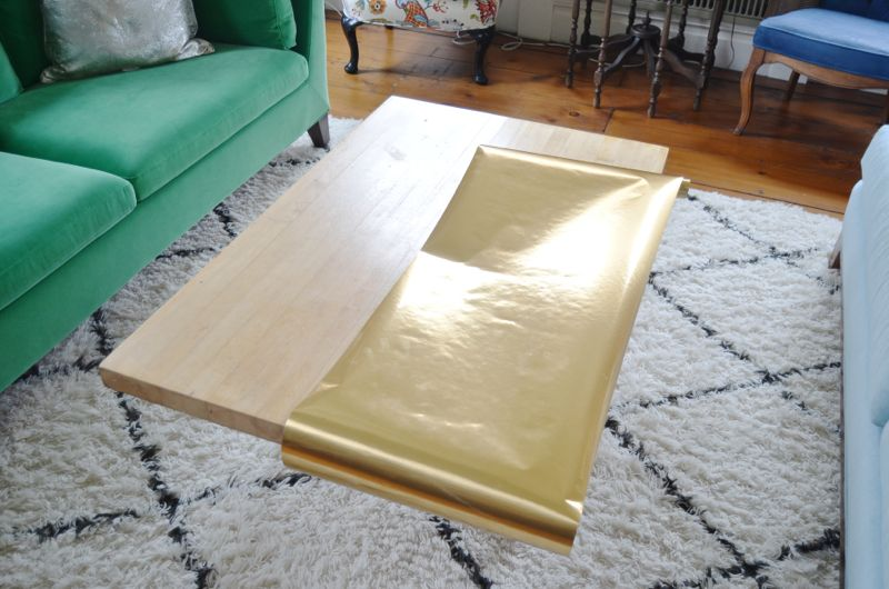 DIY Brass Coffee Table Using Contact Paper via At Charlotte's House - SlayAtHomeMother.com