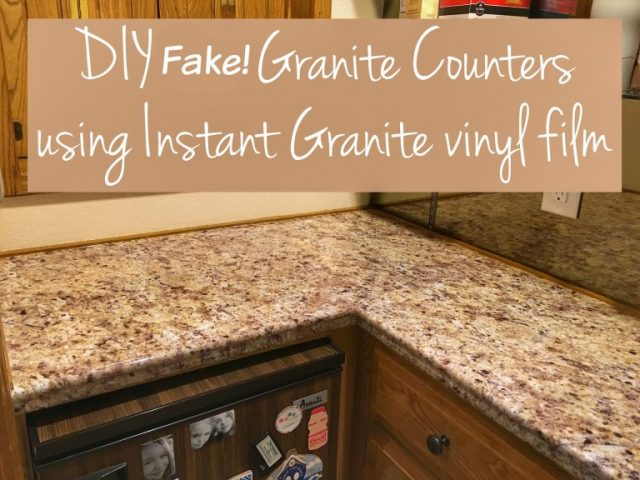 DIY Faux Granite Countertops Using Vinyl from ThreeDifferentDirections.com -- Slayathomemother.com