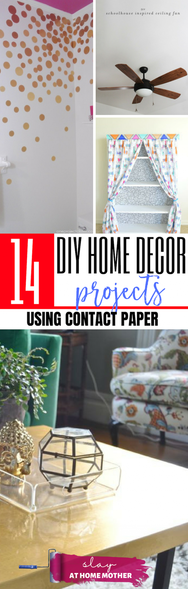 14 Contact Paper DIY Projects That Are Renter-Friendly And Easily Removable! #slayathomemother #diy #contactpaper - SLAYathomemother.com