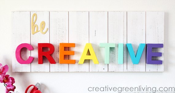 Be Creative Pallet Sign from CreativeGreenLiving -- SlayAtHomeMother.com