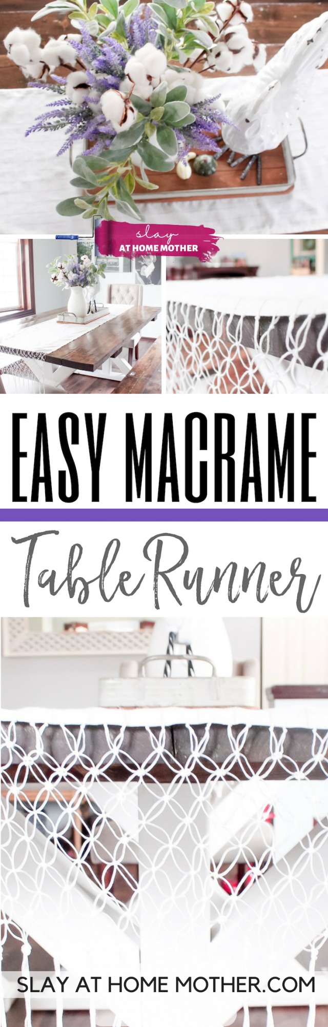 Easy Macrame Table Runner #macrame #tablerunner #slayathomemother #diy - SLAYathomemother.com