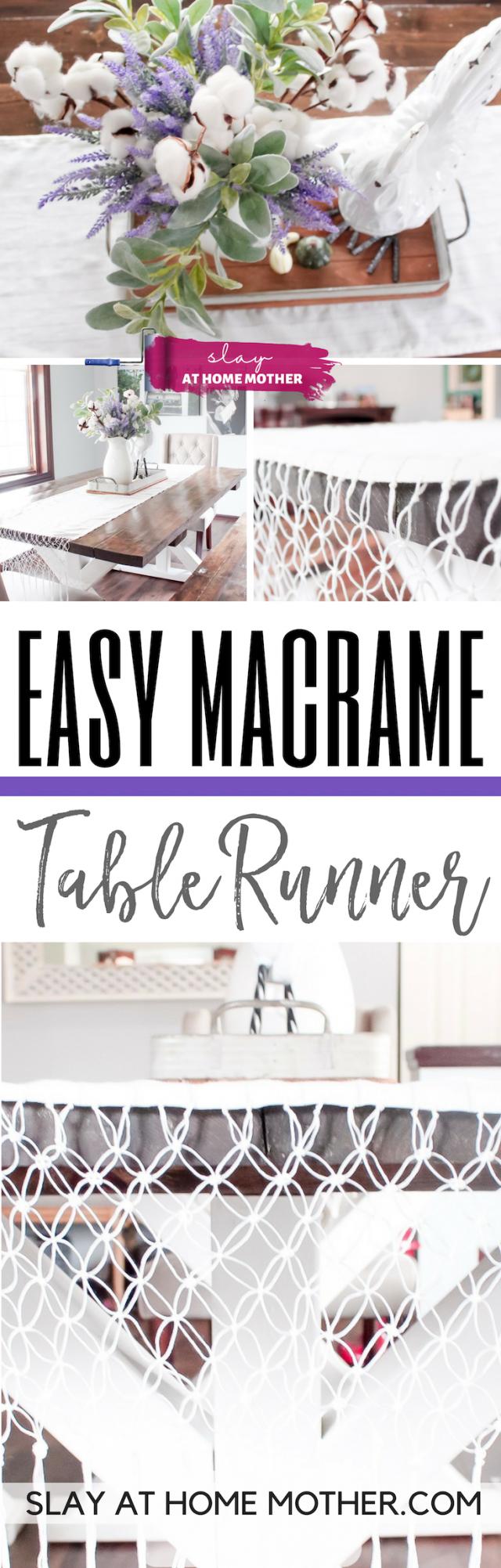 Easy Macrame Table Runner #macrame #tablerunner #slayathomemother #diy - SLAYathomemother.com