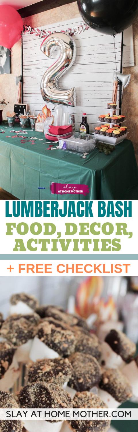 Lumberjack Bash Food, Decor, Activities + FREE Printable Checklist #lumberjackbash #birthdayparty #slayathomemother - SLAYathomemother.com