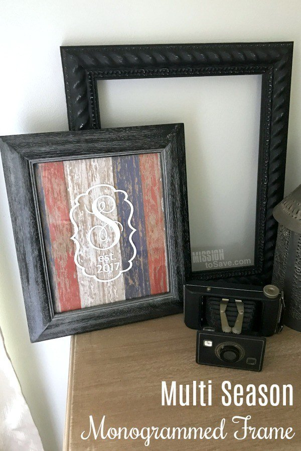 Multi-Season-Monogrammed-Frame-decor from MissionToSave.com -- SlayAtHomeMother.com