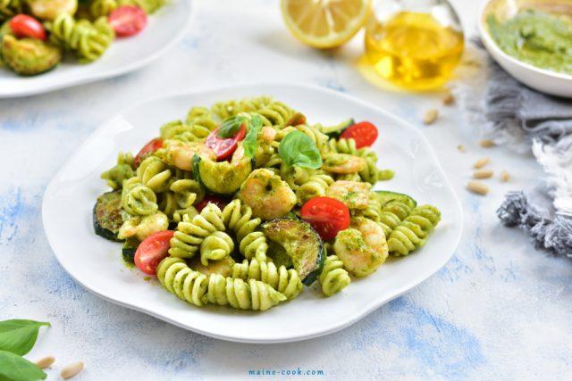 Shrimp Zucchini And Basil Pesto Pasta From Maine-Cook.com