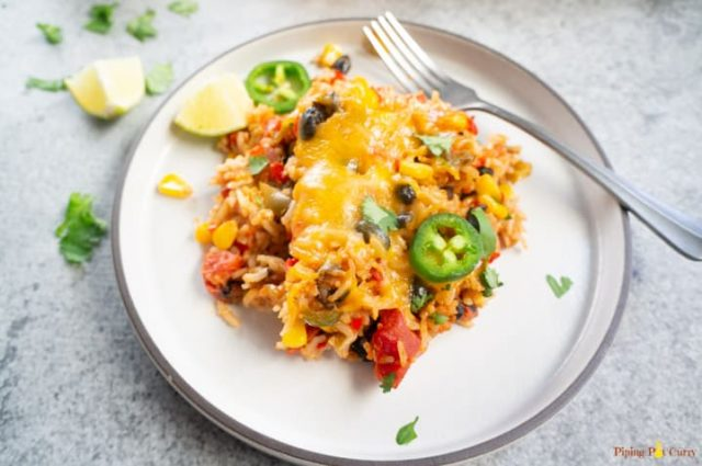 Vegetarian Mexican Casserole With Rice And Beans From PipingPotCurry.com
