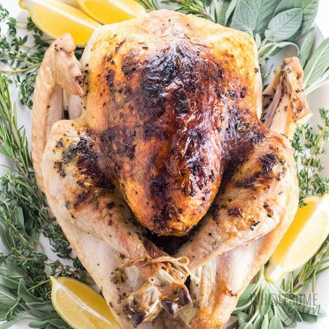 Garlic Butter Herb Roasted Turkey From WholesomeYum.com