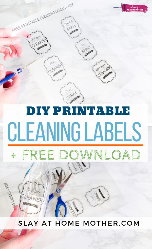 DIY Printable Cleaning Labels + Free Labels To Download! #slayathomemother #cleaninglabels #diy - SLAYathomemother.com