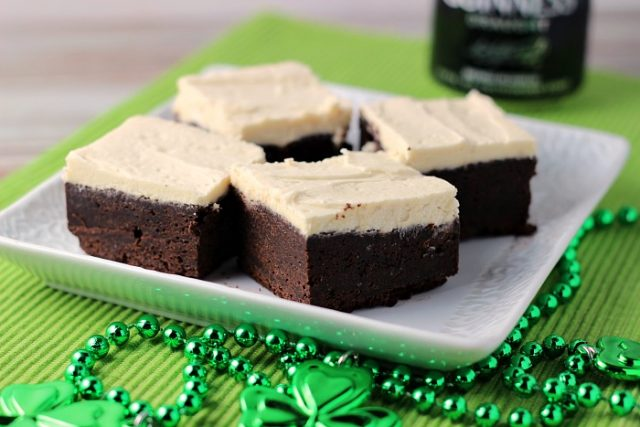 Guinness Brownies with Maple buttercream Frosting from ReneesKitchenAdventures.com - SLAYathomemother.com