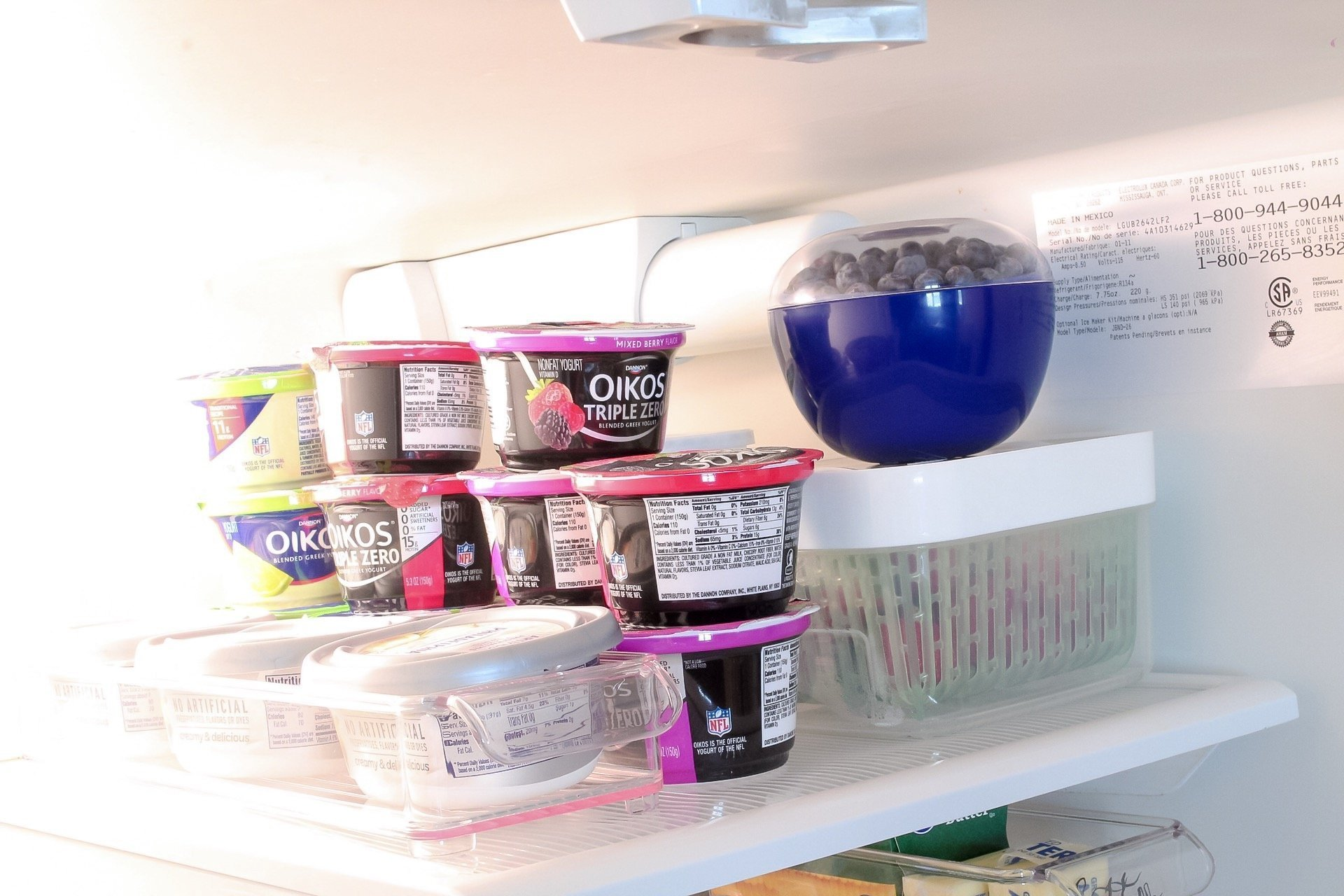 Our organized top shelf where we put out blueberries, yogurt, and cream cheese!
