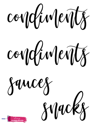 printable cursive fridge labels that say 'condiments' twice, ;sauces', and 'snacks'