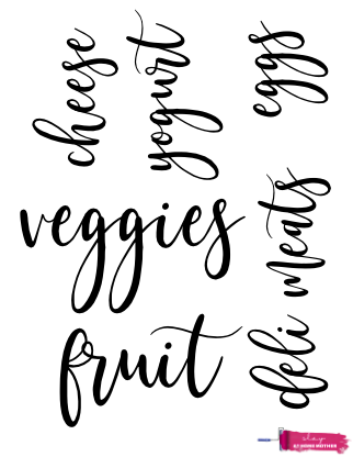 Cursive fridge labels that read 'veggies', 'fruit', cheese', 'yogurt', deli meats', and 'eggs'