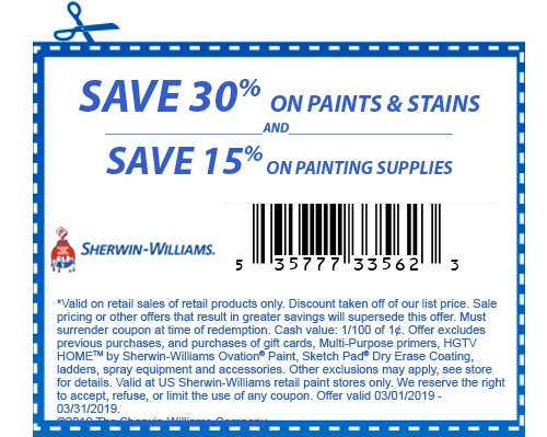 Sherwin-Williams coupon code for 30% off paints and stains