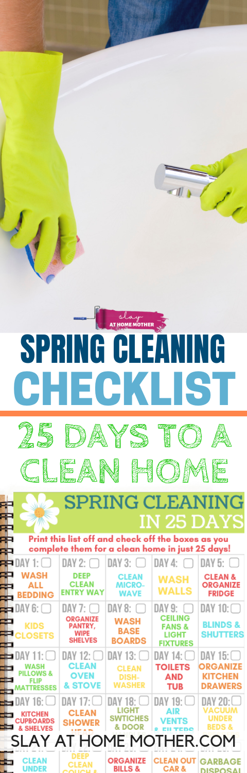 Spring Cleaning Checklist - 25 Days To A Clean Home #springcleaning #slayathomemother #checklist - SLAYathomemother.com